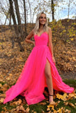 SIMPLE V NECK TULLE PINK TULLE FORMAL DRESS, PINK TULLE PROM DRESS   cg14999