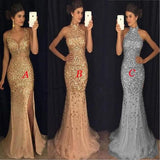 Most Popular Strap Rhinestone Long Mermaid Side Slit Gorgeous Sparkle Prom Dresses cg1499