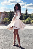 Cute A Line Round Neck White Lace Long Sleeves Champagne Satin Short Homecoming Dresses, Quinceanera Dresses, Short Party Dresses cg150