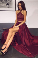 Hot Sell Burgundy Two Pieces Prom Dresses Halter   cg15011