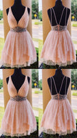 Short Homecoming Dress with Beading, Open Back Graduation Dress,   cg15014