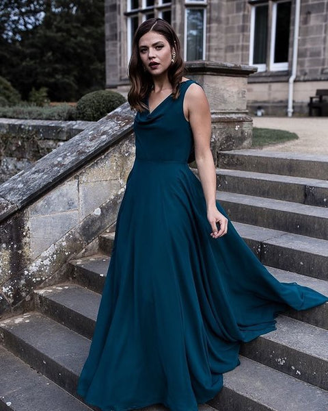 Simple Cowl Neck Chiffon A-line Bridesmaid Dress Prom Dress   cg15016