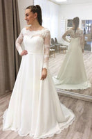 Lace Sheer Long Sleeves Prom Dress With Chiffon   cg15017