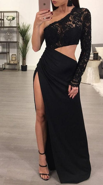Lace One Shoulder Slit Prom Dress   cg15018
