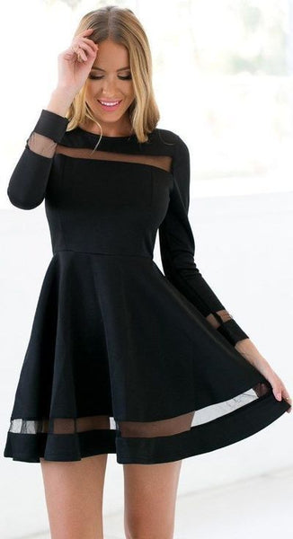 black short evening dress, o-neck homecoming dress,sleeve formal dress cg1501