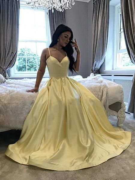 Yellow V Neck Long Satin Prom Dresses, Yellow Long Formal Evening Dress   cg15024