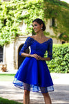 2019 A Line Homecoming Dresses V Neck 3/4 Length Sleeves With Applique Tulle & Satin cg1502