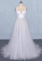 White tulle sequins long prom dress white evening dress   cg15032