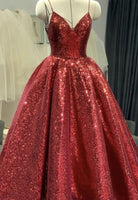 Red sequins long ball gown prom dress shiny evening dress    cg15034