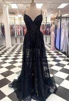 Black tulle lace long prom dress black evening dress    cg15036