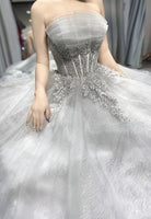 Grey tulle lace long ball gown prom  dress formal dress   cg15038