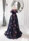 Black tulle lace long prom dress evening dress   cg15039