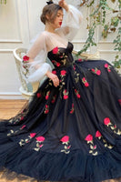 BLACK TULLE LACE LONG PROM DRESS BLACK TULLE FORMAL DRESS    cg15044