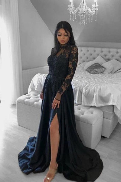 Elegant A-Line High Neck Satin Lace Long Prom Evening Dresses with Split    cg15046
