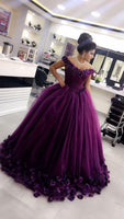 Off the shoulder purple prom dress with appliques   cg15051