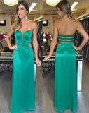 Natural Long Sweetheart Zipper Green Evening Dresses 2020 Elegant Sleeveless Prom Dresses   cg15056