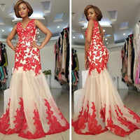 Backless Lace-Appliques Sleeveless Straps Mermaid Modest Prom Dress,   cg15057