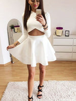 Cutout Jewel Long Sleeves White Short Homecoming Dress cg1505