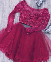 Two Piece Long Sleeves Tulle Short Homecoming Dress with Lace Beads cg1507