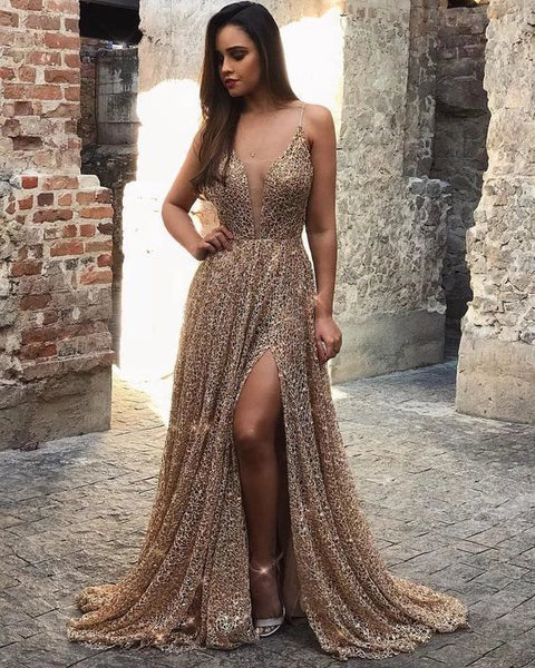 Deep V Neck Prom Dresses Sequin Side Slit Evening Dresses   cg15086