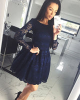 bateau lace navy blue homecoming dress, short homecoming dress with long sleeves cg1508