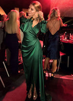 Green V Neck Prom Dress With Long Sleeves,Elegant Prom Dress With Split   cg15093