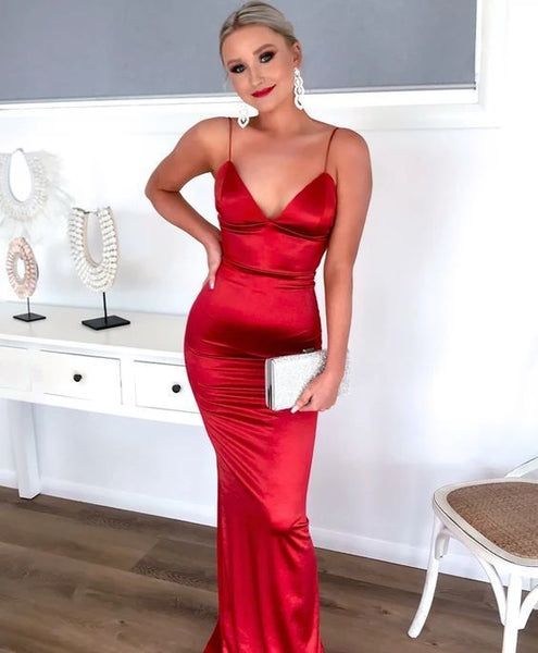 A-line Red Mermaid Prom Dress, Open Back Prom Dress    cg15097