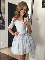 A-Line V-Neck Half Sleeves Light Blue Lace Homecoming Dress cg1510