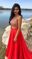 Two-piece Beads Prom Dress,Cheap Prom Dress,Sexy Prom Dress,High-neck Red Prom Dress   cg15112