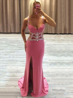 Sheath/Column V-neck Sweep Train Chiffon Prom Dresses with Beading Split Front    cg15115