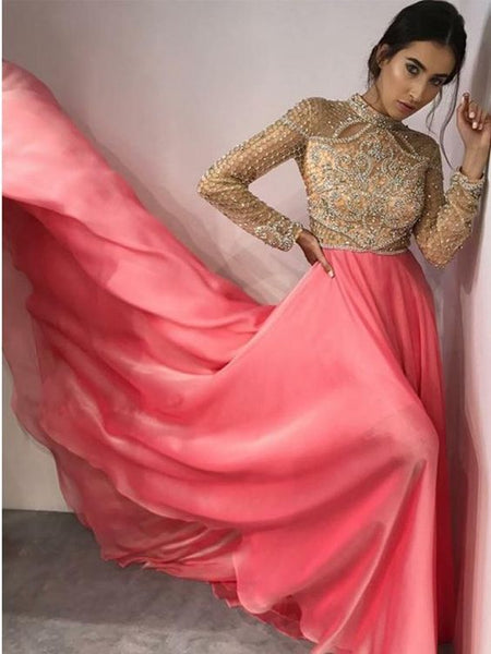 Fancy High Neck Long Sleeves Pink Evening Prom Dresses with Beading   cg15116