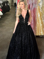 V-Neck Sleeveless Long Black Prom Dress with Sequin Open Back Evening Dress cg1511