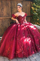 BURGUNDY SWEETHEART TULLE LACE OFF SHOULDER LONG PROM DRESS   cg15124