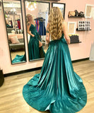 GREEN SATIN LONG PROM DRESS SIMPLE EVENING DRESS   cg15125