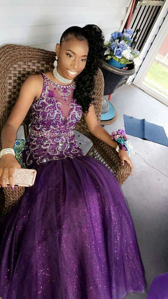 Purple Mermaid Long Prom Dress With Beading    cg15127