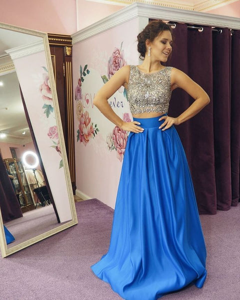 New Arrival Prom Dress,O-Neck Prom Dress,Two Pieces Prom Dress,Beading Prom Dress,A-Line Prom Dress   cg15137