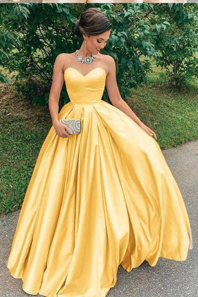 A Line Yellow Satin Prom Dresses, Strapless Sweetheart Sleeveless Party Dresses   cg15151