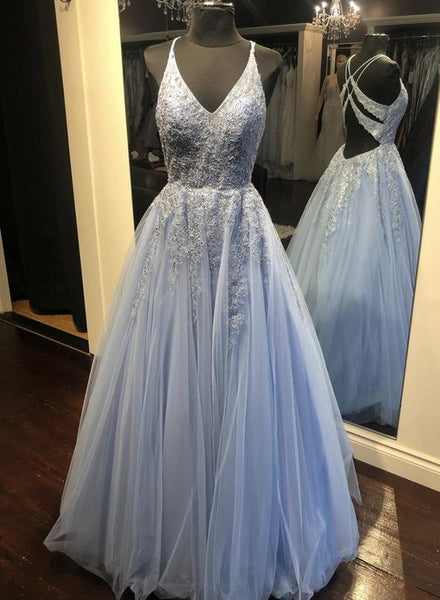 Blue v neck tulle lace long prom dress evening dress   cg15161