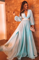 Blue Charming Prom Dress With Split     cg15165