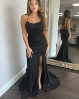 Black Satin Mermaid Spagehtti Straps Prom Dress with Side Slit   cg15178