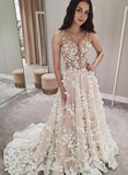 Champagne tulle lace long prom dress evening dress   cg15181