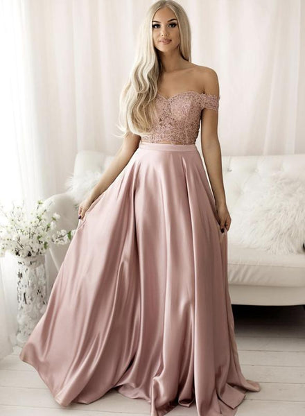 Pink lace long prom dress pink evening dress   cg15182