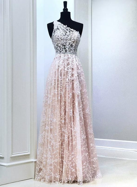 Pink lace long prom dress one shoulder evening dress   cg15183