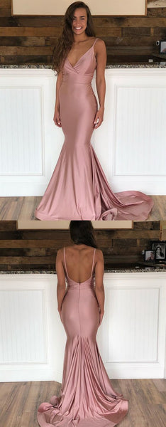 V Neck Mermaid Dusty Pink Prom Dresses with Train   cg15188