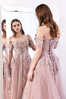 Off-the-Shoulders Long Prom Dress With Appliques   cg15190