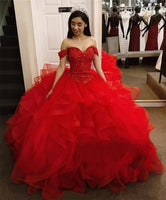 Luxury Ball Gown Red Quinceanera Dresses Off the Shoulder Prom Dress   cg15198