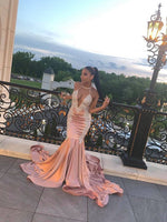 A-line V Neck Mermiad Long Prom Dress With Train, Appliques Prom Dress   cg15201