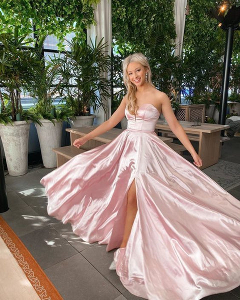 Pink Strapless Long Prom Dress With Split   cg15205