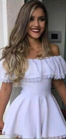 Elegant Off Shoulder Short A-Line Homecoming Dresses With Lace, Homecoming Dresses cg1521