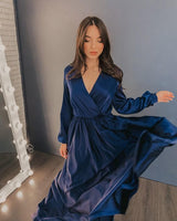 Navy Blue Simple Prom Dress With Sleeves  cg15221
